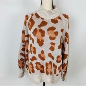 Very J Animal Print High Neck Sweater Small